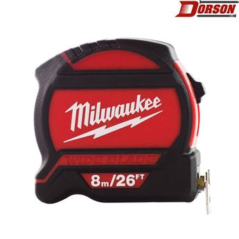 MILWAUKEE 8m/26ft Wide Blade Tape Measure – Metric & SAE