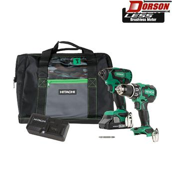 HITACHI KC18DBFL2S 18V Lithium Ion Brushless Hammer Drill and Impact Driver Combo Kit